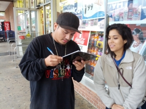 Activist registering someone to vote