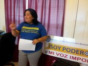 Paula talking to a group in South Texas